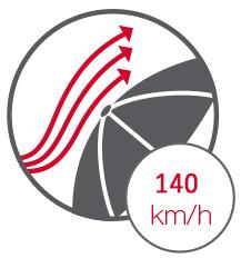 resistente a 140 kilometros por hora